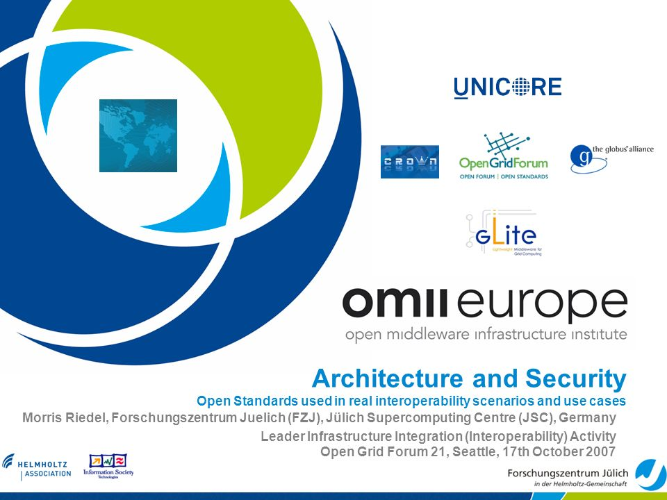 Architecture and Security Open Standards used in real interoperability scenarios and use cases