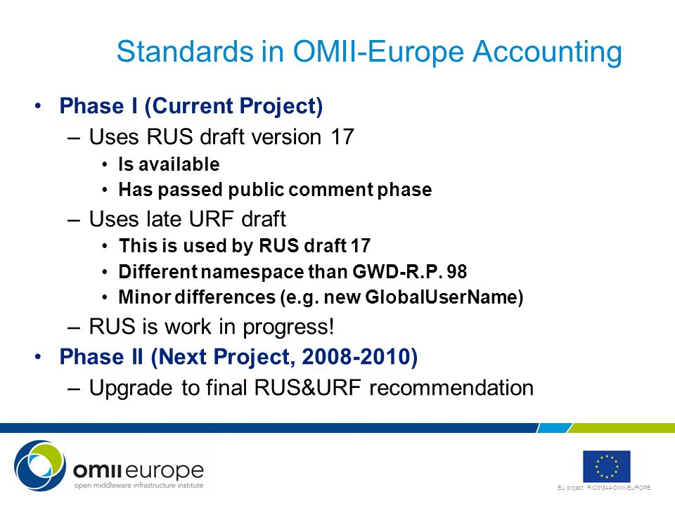 Standards in OMII-Europe Accounting