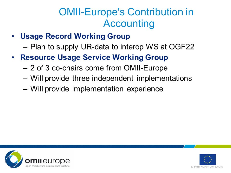 OMII-Europe s Contribution in Accounting