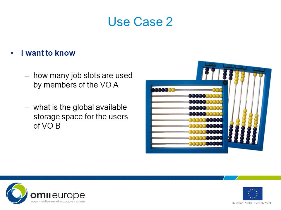 Use Case 2 I want to know. how many job slots are used by members of the VO A.