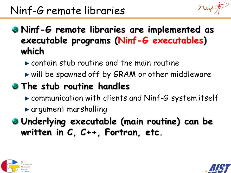 Ninf-G remote libraries