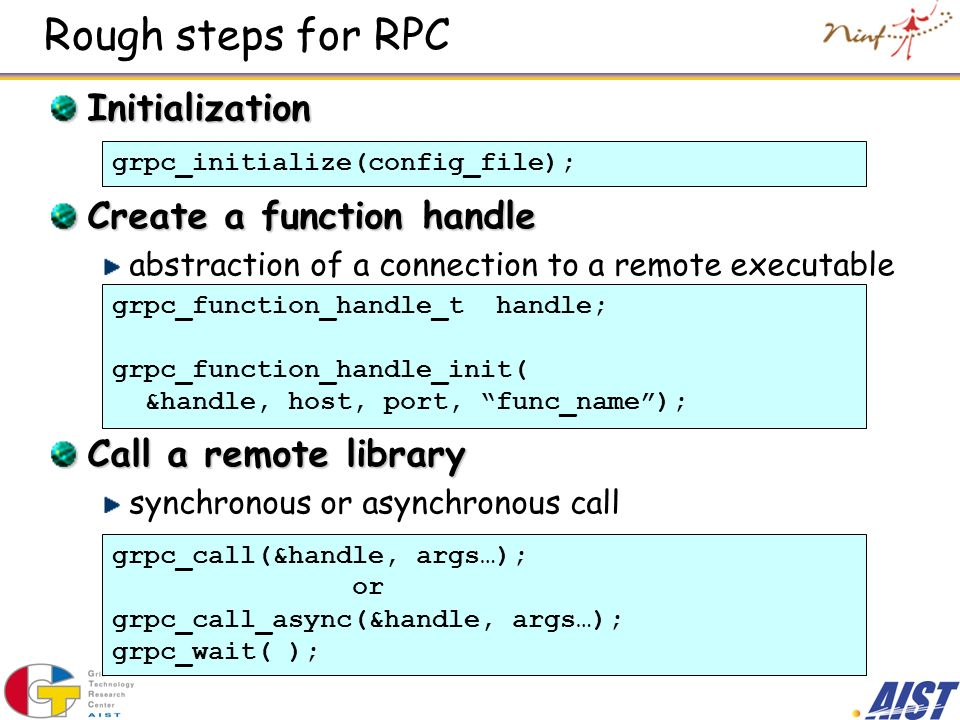 Rough steps for RPC Initialization Create a function handle