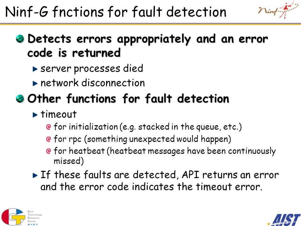 Ninf-G fnctions for fault detection