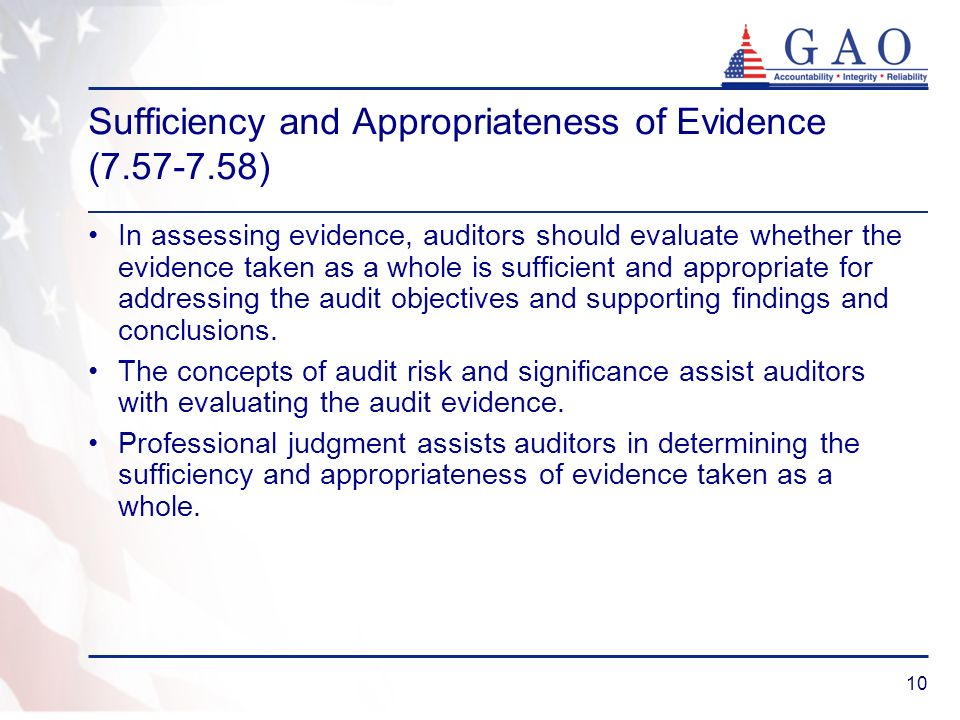 Sufficiency and Appropriateness of Evidence (7.57-7.58)