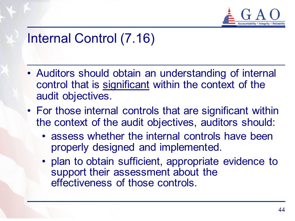 Internal Control (7.16) Auditors should obtain an understanding of internal control that is significant within the context of the audit objectives.