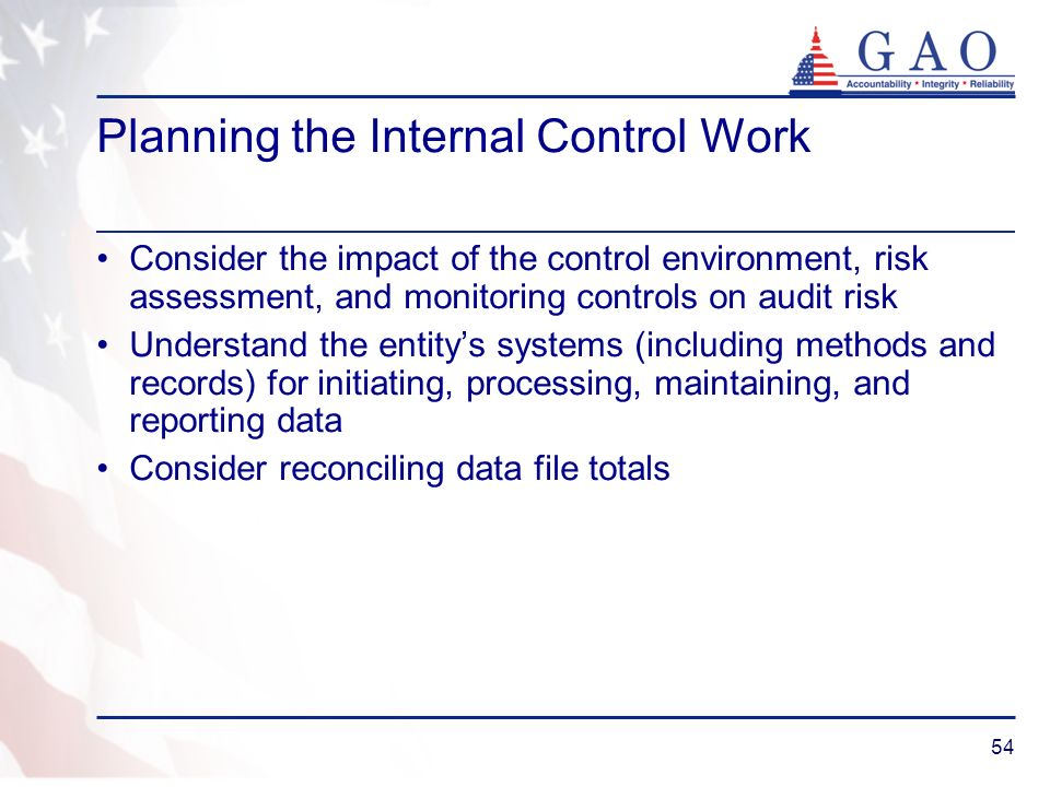 Planning the Internal Control Work