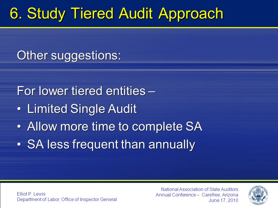 6. Study Tiered Audit Approach