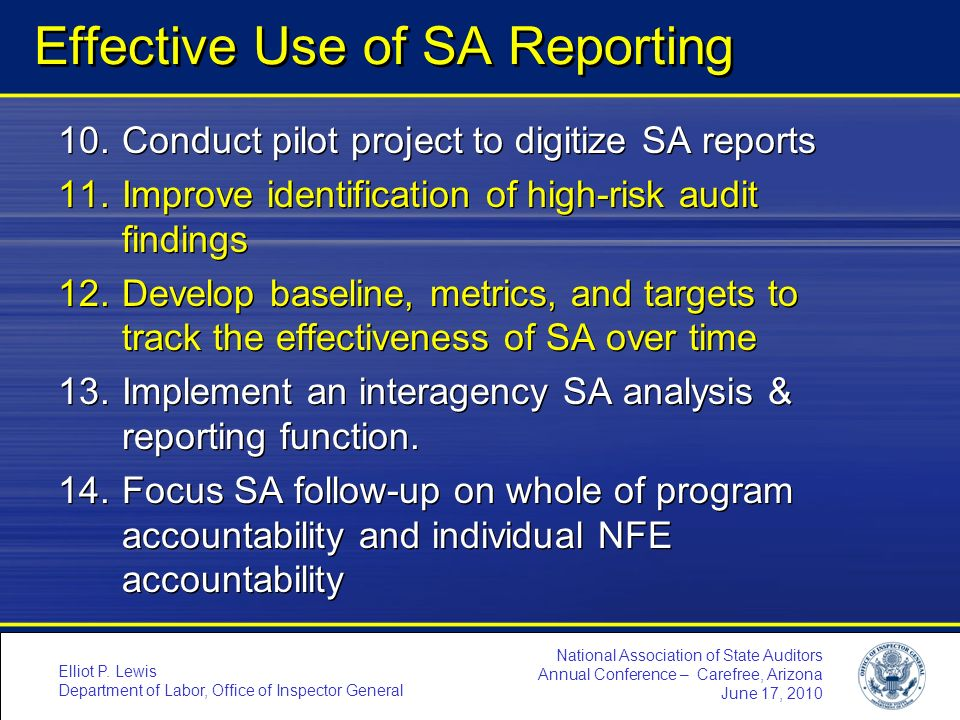 Effective Use of SA Reporting