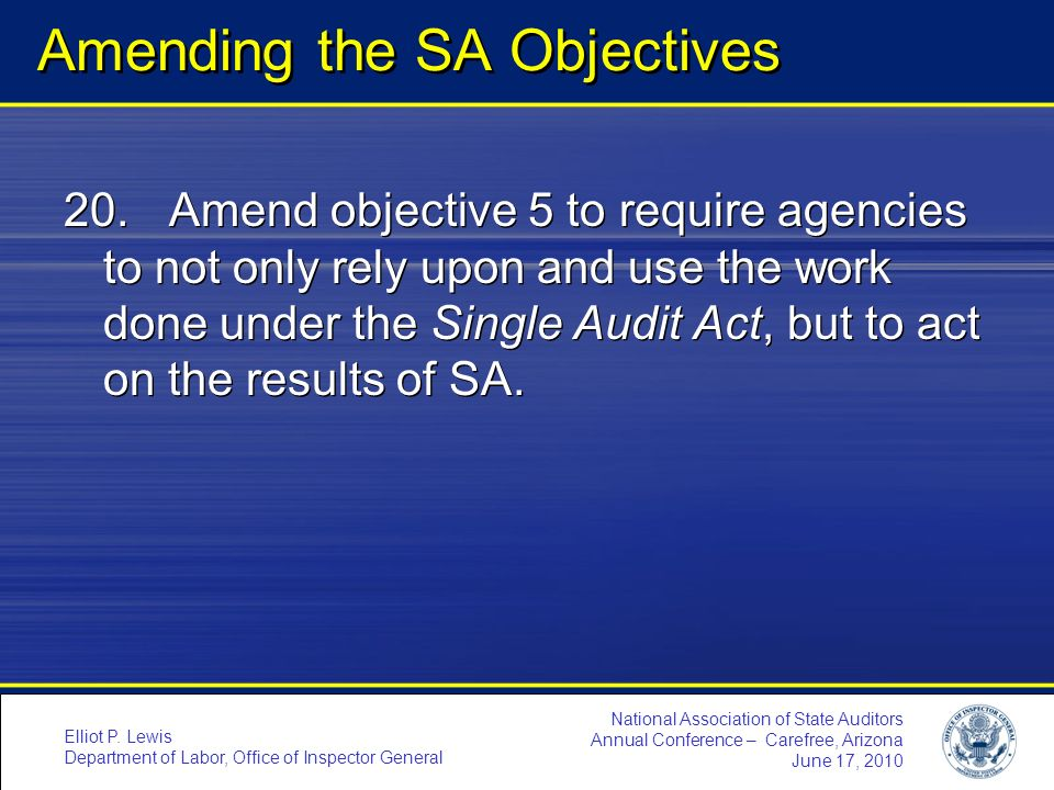 Amending the SA Objectives
