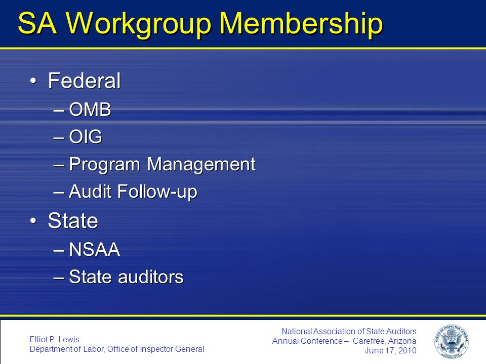 SA Workgroup Membership