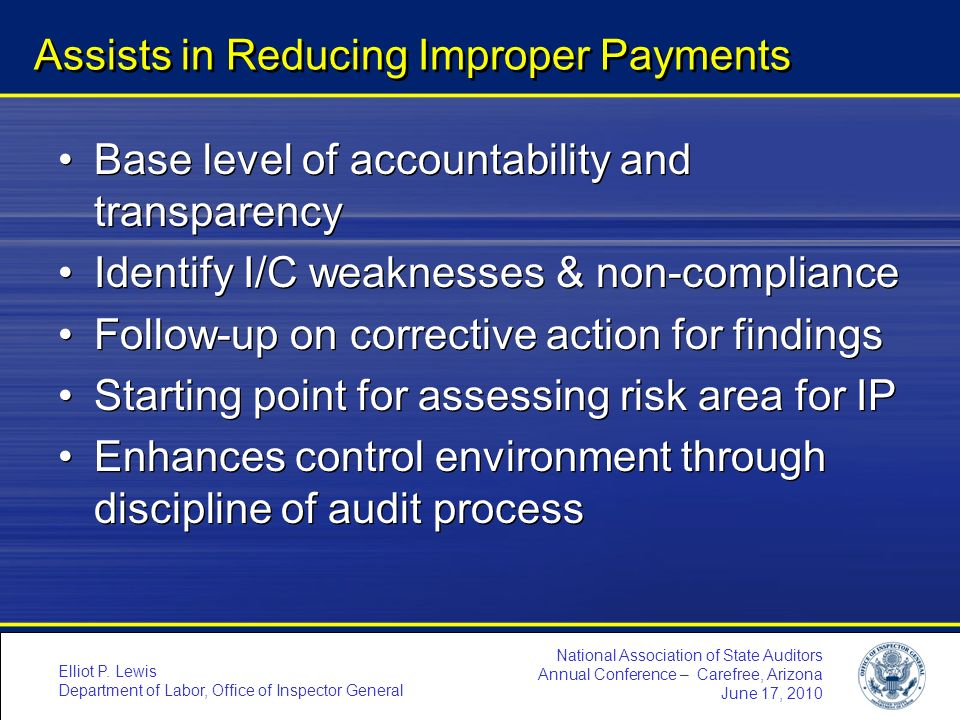 Assists in Reducing Improper Payments