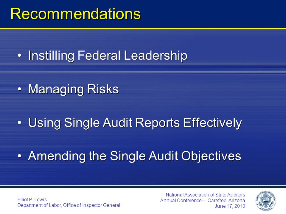 Recommendations Instilling Federal Leadership Managing Risks