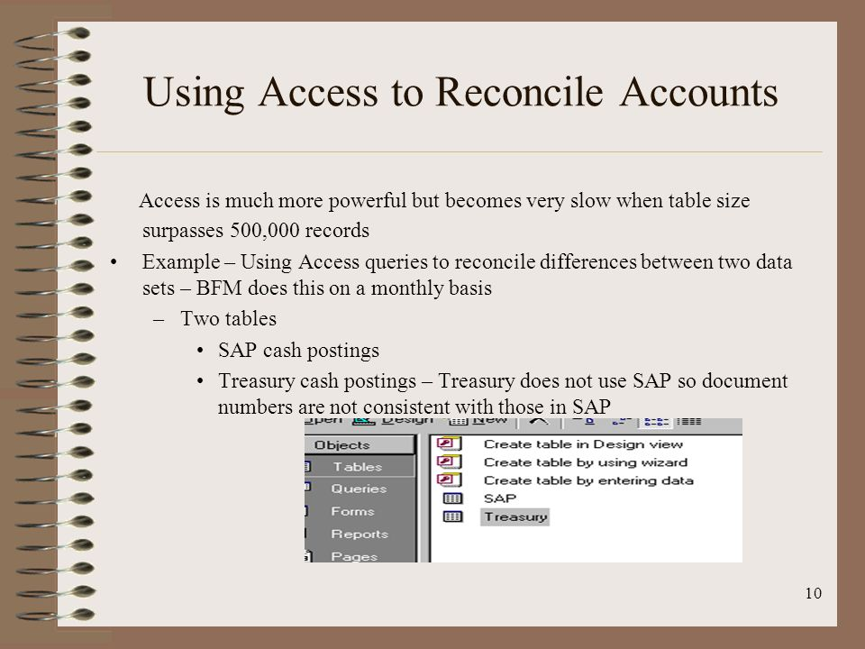 Using Access to Reconcile Accounts