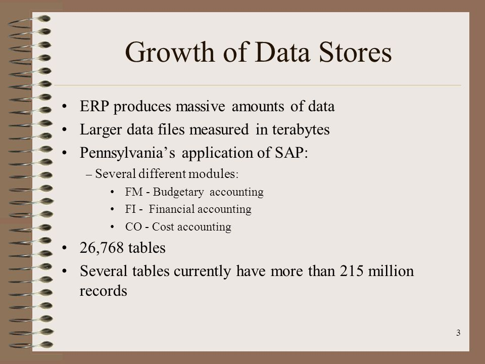 Growth of Data Stores ERP produces massive amounts of data