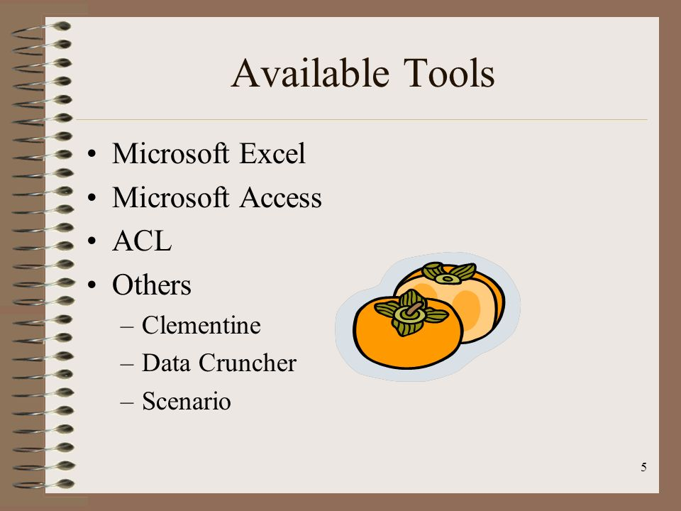 Available Tools Microsoft Excel Microsoft Access ACL Others Clementine