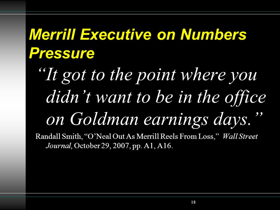 Merrill Executive on Numbers Pressure