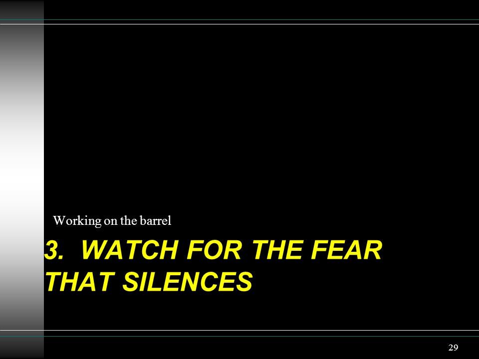3. WATCH FOR The fear that silences