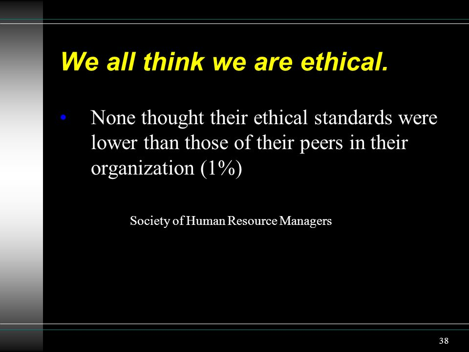 We all think we are ethical.