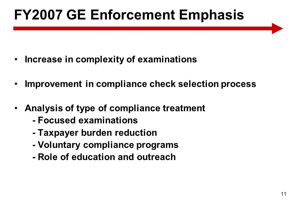 FY2007 GE Enforcement Emphasis