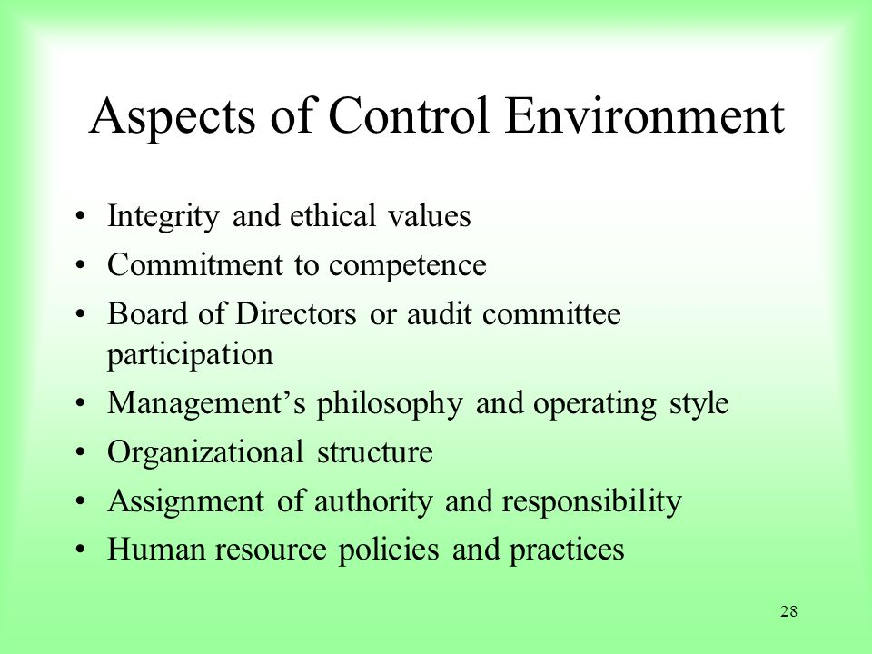 Aspects of Control Environment