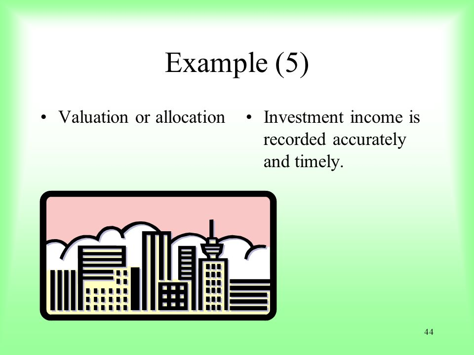 Example (5) Valuation or allocation