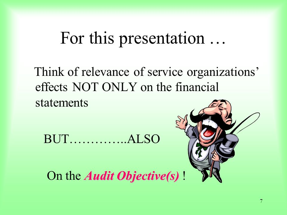 For this presentation …