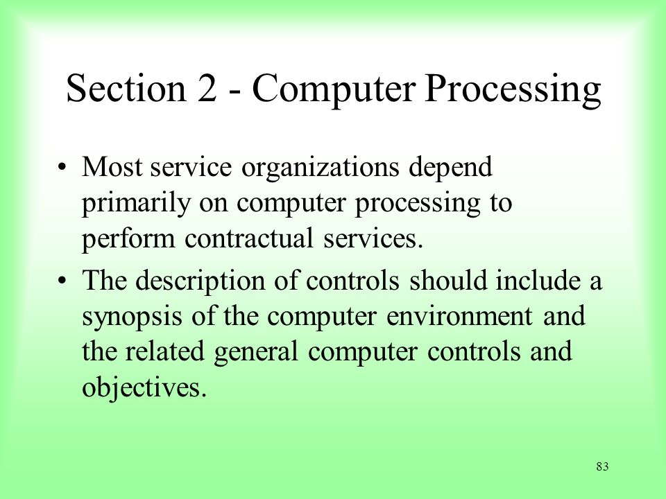 Section 2 - Computer Processing
