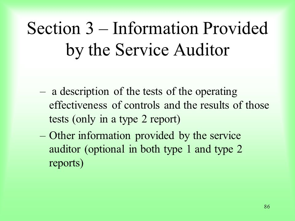Section 3 – Information Provided by the Service Auditor