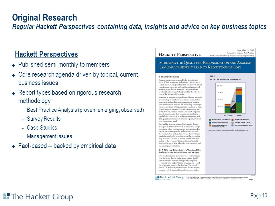 Original Research Regular Hackett Perspectives containing data, insights and advice on key business topics