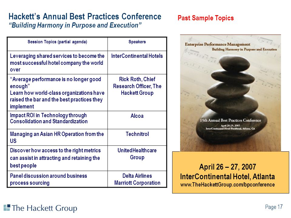 Hackett's Annual Best Practices Conference Building Harmony in Purpose and Execution
