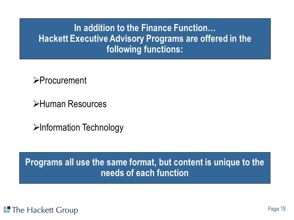 In addition to the Finance Function… Hackett Executive Advisory Programs are offered in the following functions: