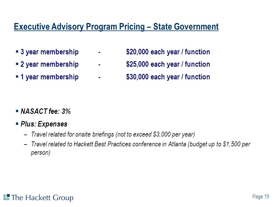 Executive Advisory Program Pricing – State Government