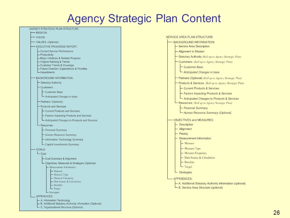 Agency Strategic Plan Content