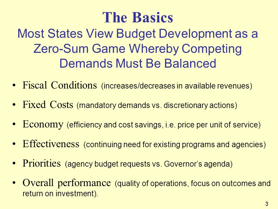 The Basics Most States View Budget Development as a Zero-Sum Game Whereby Competing Demands Must Be Balanced