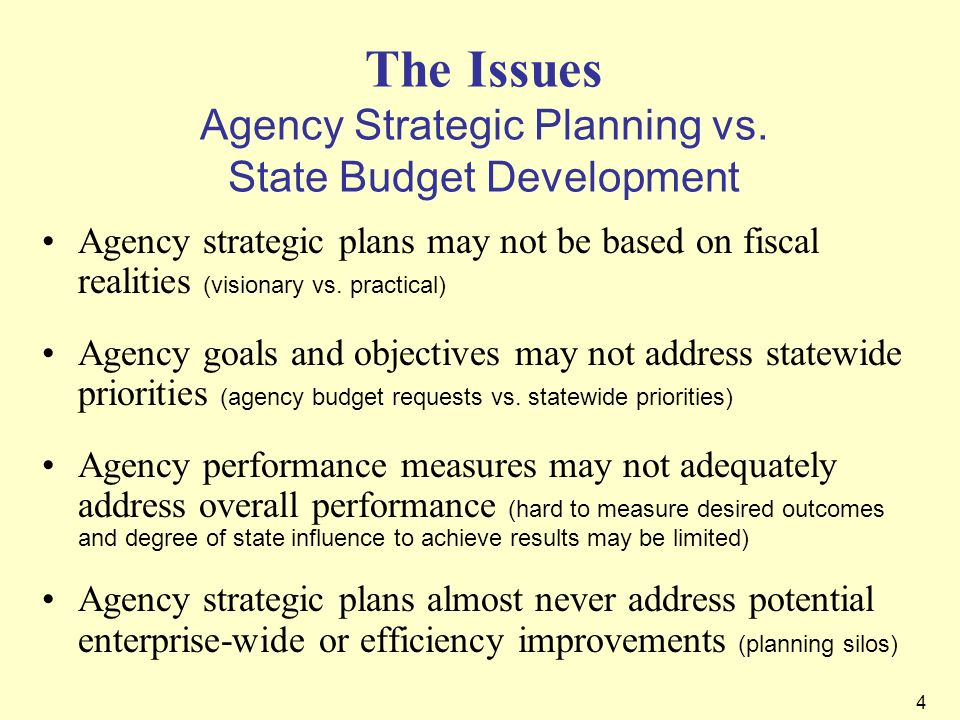 The Issues Agency Strategic Planning vs. State Budget Development