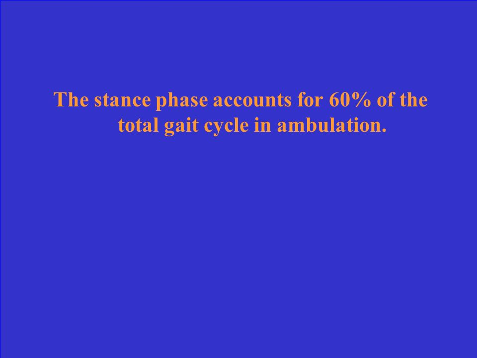The stance phase accounts for 60% of the total gait cycle in ambulation.