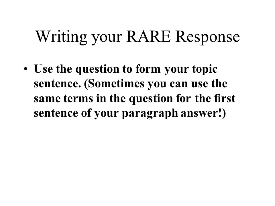 Writing your RARE Response