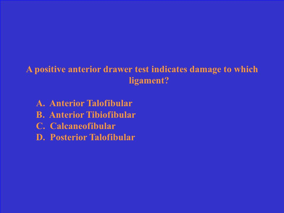 A positive anterior drawer test indicates damage to which ligament