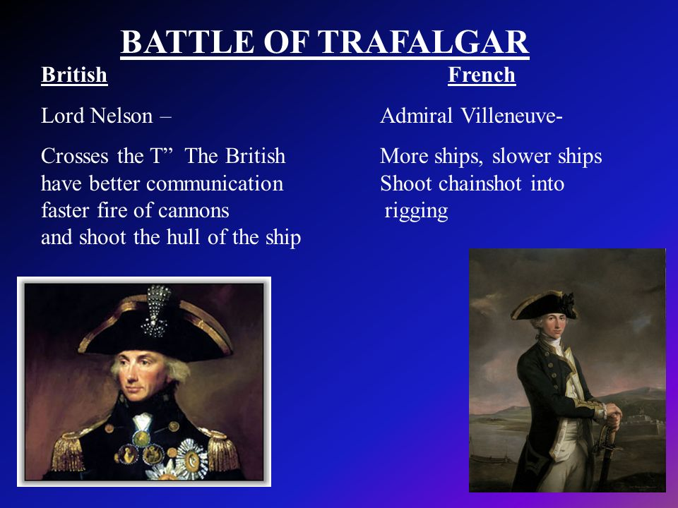 BATTLE OF TRAFALGAR British French Lord Nelson – Admiral Villeneuve-