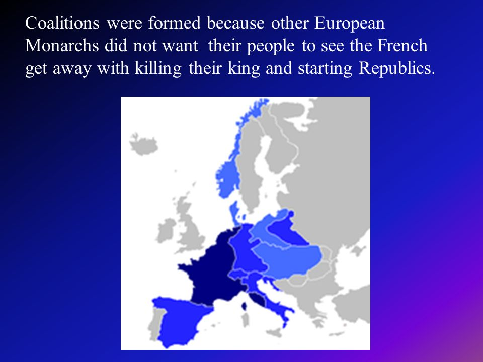 Coalitions were formed because other European Monarchs did not want their people to see the French get away with killing their king and starting Republics.