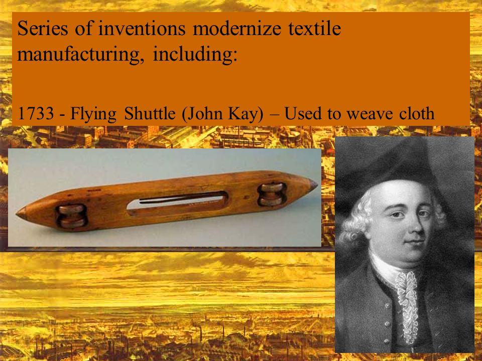 Series of inventions modernize textile manufacturing, including: