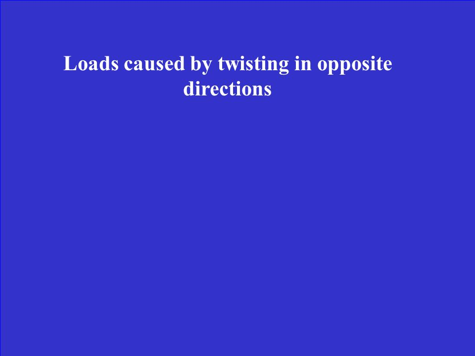 Loads caused by twisting in opposite