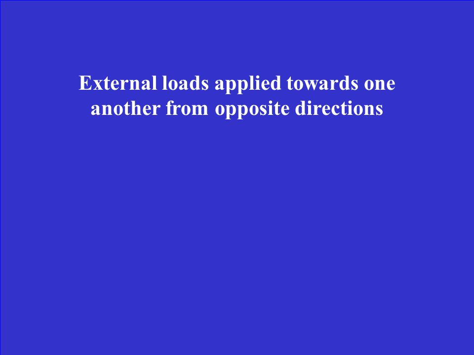 External loads applied towards one another from opposite directions