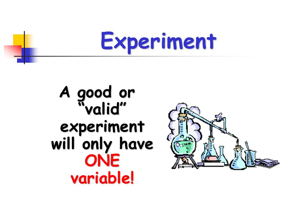 A good or valid experiment will only have ONE variable!
