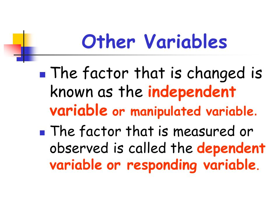 Other Variables The factor that is changed is known as the independent variable or manipulated variable.