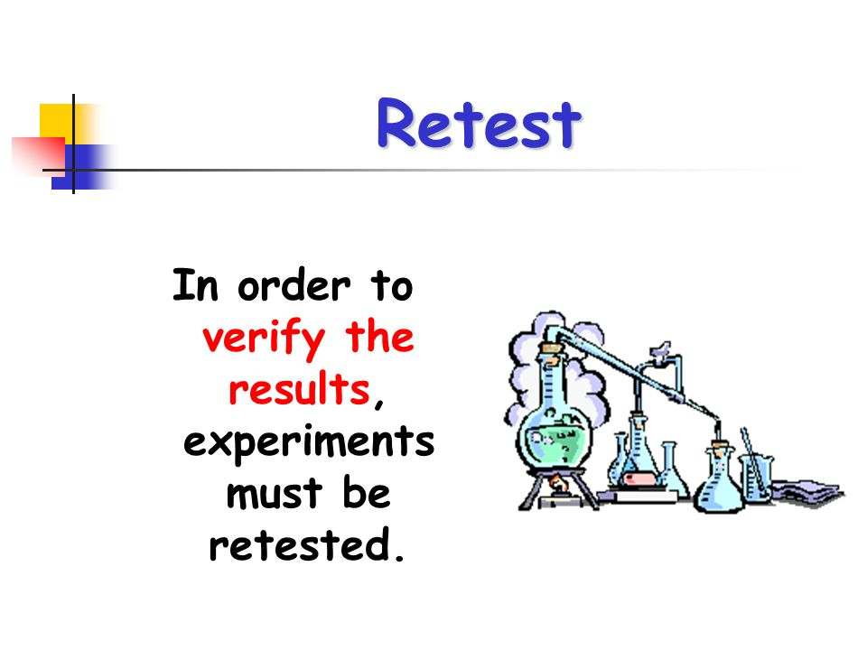 In order to verify the results, experiments must be retested.