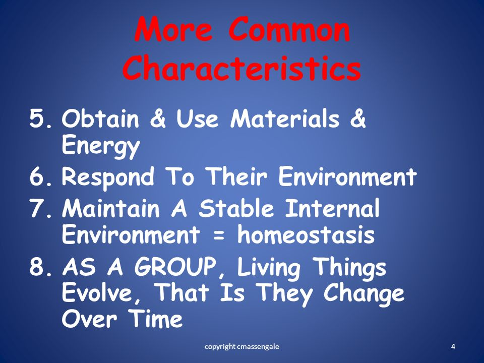 More Common Characteristics
