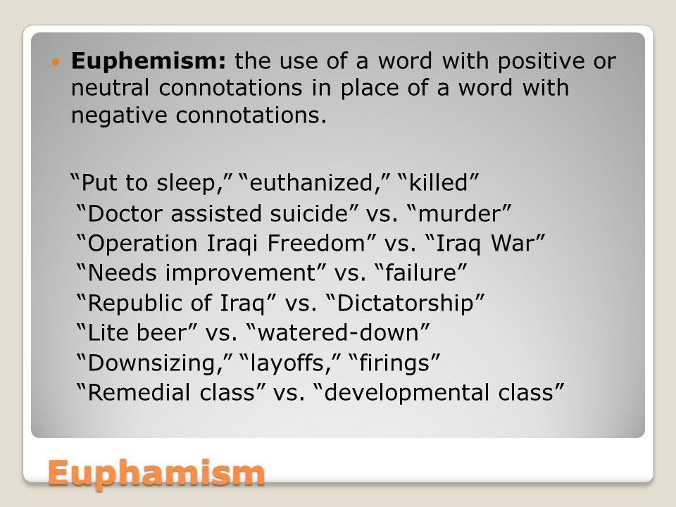 Euphamism Put to sleep, euthanized, killed