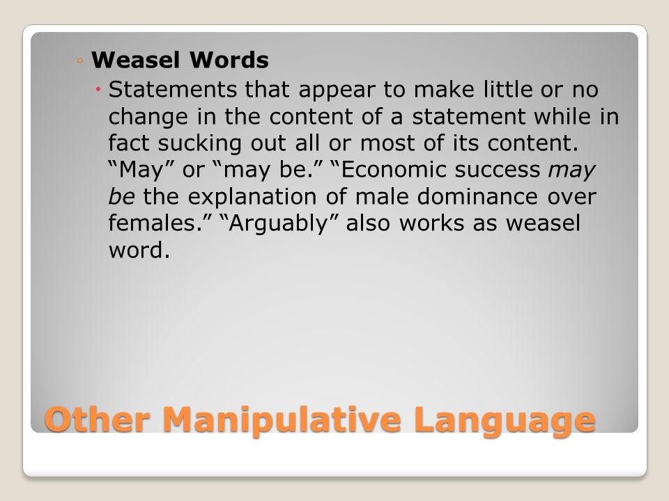 Other Manipulative Language