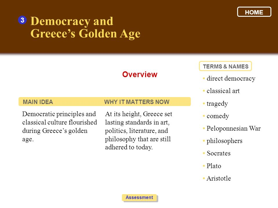Democracy and Greece's Golden Age Overview 3 • direct democracy
